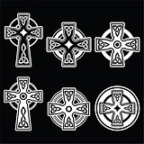 Irish, Scottish Celtic white cross on black