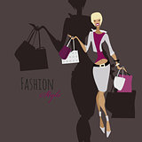 Fashion girl. Woman with shopping bags.