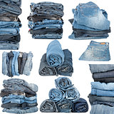 Set of various stacked jeans