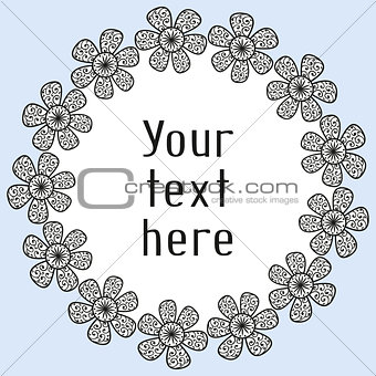 Greeting card with floral wreath in doodling style
