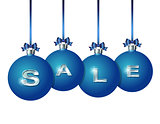 Blue Christmas balls with silver word Sale