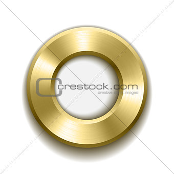 Gold donut button template with metal texture.