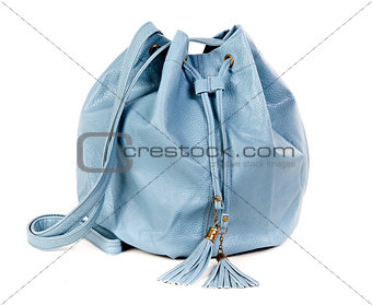 blue leather handbag fashionable women