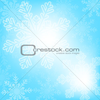 Abstract blue christmas snowflakes background