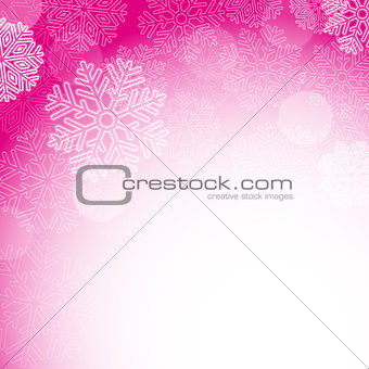 Abstract pink christmas snowflakes background