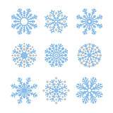 Various winter snowflakes set