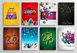 Set of 2015 New Year and Happy Christmas background for your flyers