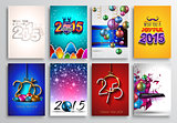 Set of 2015 New Year and Happy Christmas background