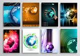 Set of Flyer Design, Web Templates. Brochure Designs, Technology Backgrounds