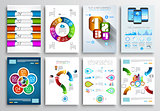 Set of Brochure Designs, Infographic Backgrounds
