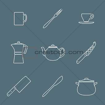 flat white outline dinnerwarwe icons set