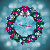 New Year's background - a wreath of fir branches, balls