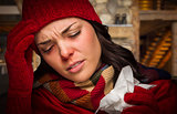 Sick Woman Inside Cabin With Tissue