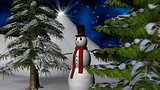 Christmas Night Star with a Snowman and fir trees