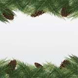 christmas background with christmas tree. Vector frame with gree