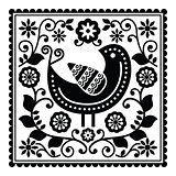 Folk art black pattern with bird and flowers