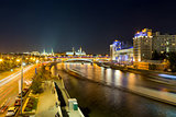 Moskva River in downtown Moscow at night. Russia