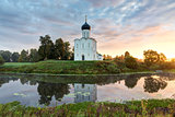 Church of Intercession of Holy Virgin on the Nerl River at dawn.