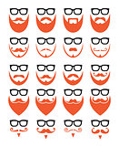 Ginger beard and glasses, hipster icons set