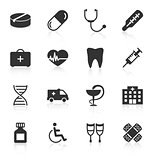 Set of medical icons on white background