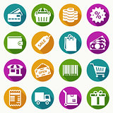 Set of shopping icons in flat style