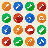 Set of construction tools icons in flat style