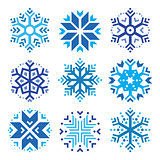 Snowflakes, winter blue icons set