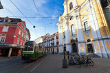View of Annenstrasse street with typical green tram
