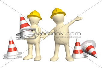 3d puppets with emergency cones