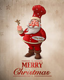 Santa Claus pastry cook greeting card