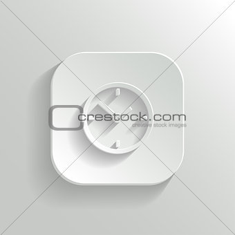 Clock icon - vector white app button with shadow