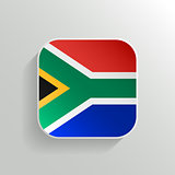 Vector Button - South Africa Flag Icon on White Background