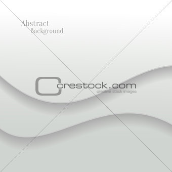 Abstract White Vector Background with Wave Paper Layers