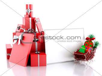 3d illustration Christmas paper card with gift boxes on white ba