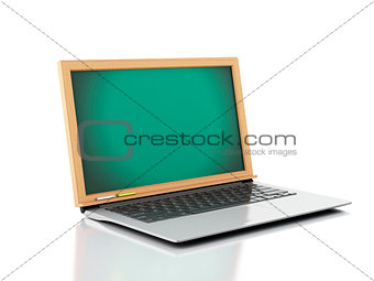 3d illustration. Laptop with chalkboard on white background