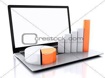 3d Laptop with charts and graph. Business success concept. Isola