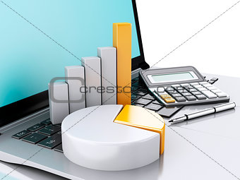 3d Laptop with charts and graph. Business office concept. Isolat