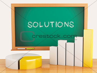 3d illustration. Graph, charts and blackboard. business solution