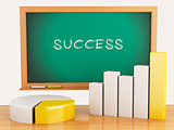 3d illustration. Graph, charts and blackboard. business success