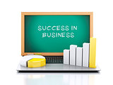 3d illustration. laptop with blackboard. business Graph and char