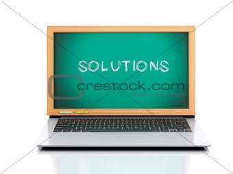 3d illustration. laptop with blackboard. business solutions conc