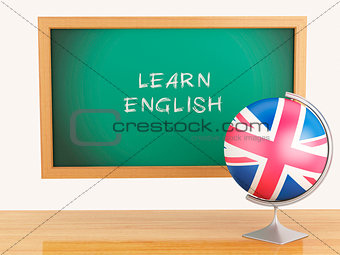 3d illustration. School education concept. Blackboard with learn