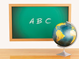 3d illustration. School education concept. Blackboard with ABC t