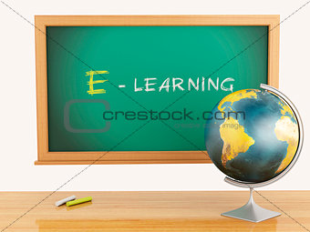 3d illustration. School education concept. Blackboard with E-lae