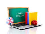 Laptop with chalkboard. Learn English concept. 3d illustration