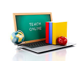 Laptop with chalkboard. teach online concept. 3d illustration