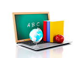 Laptop with chalkboard. online education concept. 3d illustratio