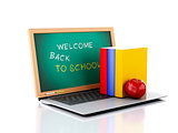 Laptop with chalkboard. welcome back to school concept. 3d illus