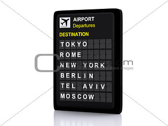 3d airport board, departures information on white background