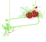 Banner with red peony